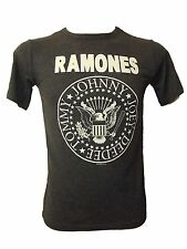 MENS OFFICIAL RAMONES PUNK ROCK HEY HO GRAPHIC T-SHIRT CHARCOAL GREY SZ S - XL