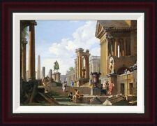Capriccio of Classical Ruins by Giovanni Paolo Pannini Framed Painting Print