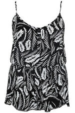 Yoursclothing Plus Size Womens Leaf Print Playsuit With Crochet Trim