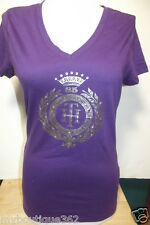 NEW WITH TAG TOMMY HILFIGER PURPLE PRINTED V NECK TEE TOP LQQK