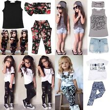 New Toddler Kids Baby Girls Outfit T-shirt Tops+Pants Trousers Dress Clothes Set