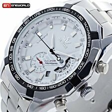 Mens Skeleton Date Automatic Watch Sliver Mechanical Sport Wrist Stainless Steel