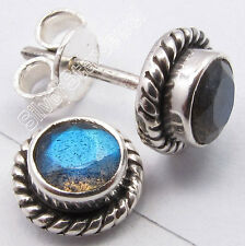 925 Silver RAINBOW MOONSTONE, GARNET & Other Stones Variation Stud Post Earrings