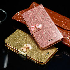 Bling Luxury Leather Magnetic Flip Wallet Stand Cover Case For Samsung/iPhone