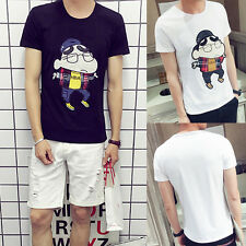 Fashion Men Summer Casual Short Sleeve Anime T-Shirt Top Tee T-Shirts Crew Neck