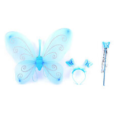 3Pc Set Girls Fairy Costume Butterfly Party Wings Wand Princess Headband JGUS