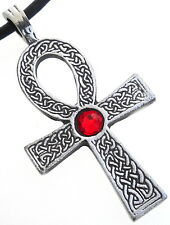 PEWTER Ankh Egypt Cross SWAROVSKI CRYSTAL Birthstone JULY Ruby Red PENDANT