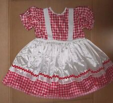 NWT Raggedy Doll Girl Costume Red White Gingham Satinette Dress NO Bloomers