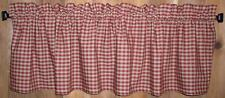 Berry Red Medium Check Homespun Valances Tiers Primitive Country Curtains Cabin