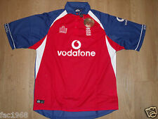 Admiral Cricket England One Day Shirt Top Red Blue White Vodafone Size L New