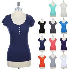 Ribbed Henley T Shirt Top Stone Buttoned Short Sleeve Round Neck Cotton S M L