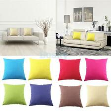 45cm Solid Cotton Canvas Linen Square Throw Pillow Case Cushion Covers