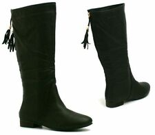 WOMENS LEATHER STYLE FLAT PULL UP TASSEL SLOUCH MID CALF RIDING CASUAL BOOTS SHO
