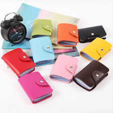 Women Girls PU Leather Wallet Holder Pocket Business ID Credit Card Case 12Card