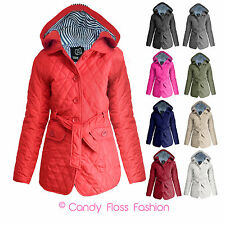 NEW LADIES QUILTED HOODED WOMENS PADDED BELTED BUTTON JACKET COAT SIZE 8-20