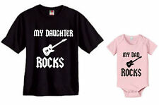 MY DAUGHTER ROCKS & MY DAD ROCKS - DAD AND BABY SET OF 2 - MENS BABY - SIZES
