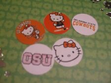 Pre Cut One Inch HELLO KITTY OSU OKLAHOMA STATE  Bottle Cap Images! FREE SHIP