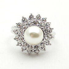 Fashion Jewelry - 18K White Gold Plated Imitation Pearl Ring (FR119)