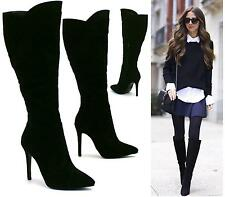 LADIES BLACK FAUX SUEDE HIGH HEEL STILETTO POINTED TOE KNEE HIGH BOOTS