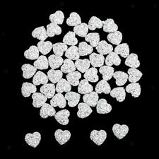 50 12mm Heart Shape Resin Bead Flatback Scrapbook Rhinestone Craft Wedding Decor