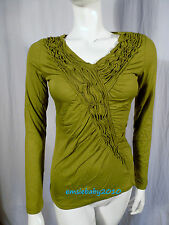 Per Una Marks & Spencer Green Ruffle Neckline 3/4 Sleeve Jersey Top Size 8 - 22