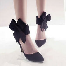 Stilettos Faux Suede Pointed Toe Velcro Ankle Bowknot High Heels Womens Sandals