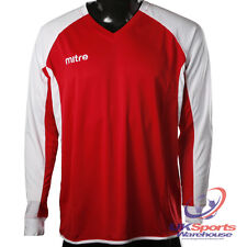 Mitre Aren DryCool Long Sleeved Football Shirt Jersey Red/White rrp£20