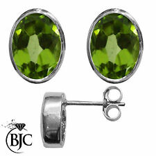 BJC® 9ct White Gold Natural Peridot Oval Stud Earrings 3.00ct Studs Brand New