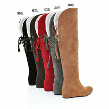 Womens Hidden Wedge Heel Snow Warm Winter Lace Up Knee High Boots Shoes Plus Sz