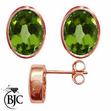 BJC® 9ct Rose Gold Natural Peridot Oval Stud Earrings 3.00ct Studs Brand New