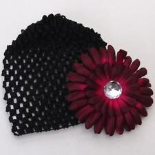 Baby Infant Girl Versatile Crochet Beanie Hat Cap Rhinestone Flower Hairclip New