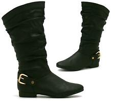 WOMENS LADIES MID CALF HIGH FLAT BIKER SLOUCH CASUAL FASHION BOOTS SIZE 3-8