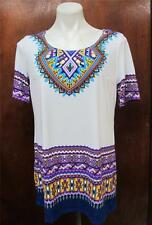 Antthony White Scoop Neck Short Sleeve w. Multicolor Printed Tunic Top Sz S M
