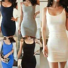 Sexy Women Lady Bodycon Vest Stretch Mini Dress Solid Bottoming Casual Sundress