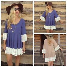 Women Lady Loose Short Sleeve Shirt Floral Tunic Tops Blouse Lace Mini Dresses