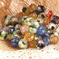 Lampwork Glass Flower Floral Loose Spacer Beads Findings Charms For Bracelet