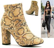 WOMENS BEIGE SNAKE ANKLE BOOTS BLOCK HEEL SNAKESKIN SHORT HIGH HEEL SHOES SIZE