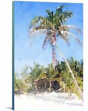 'Modern Tropical Beach Palm Paradise' Painting Print on Wrapped Canvas