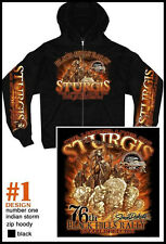 2016 Sturgis Motorcycle Rally #1 Design Indian Storm Zip Up Hooded Sweat Shirt
