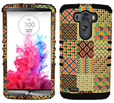 For LG Optimus G3 - Hybrid 2 Piece Hard Soft Cover Case Tribal Design Black