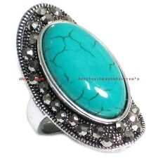 BRI0111 ANTIQUE STYLE SILVER PLATED RHINESTONE & NATURAL BLUE TURQUOISE RING