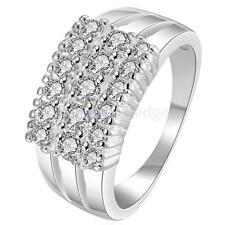 Bridal Engagement Wedding .925 Silver Plated 3-Row Zircon Finger Ring Party Prom