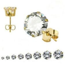 Gold PVD Stud Earrings Select from 8 Sizes Hypoallergenic Surgical Steel