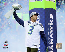 Russell Wilson Seattle Seahawks Super Bowl Trophy Photo QQ056 (Select Size)