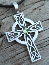 Silver PEWTER Wales CELTIC CROSS Irish PERIDOT Crystal AUGUST Birthstone Pendant