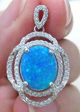 "SPECIAL - 925 Sterling Silver ""Oval Blue Green"" Cr. OPAL Elegant PENDANT - GIRL"