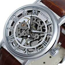 Luxury Leather Steampunk Skeleton Mechanical Stainless Steel Classic Wrist Watch