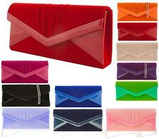 WOMENS LADIES FAUX SUEDE PATENT STYLE ENVELOPE CLUTCH BAG EVENING PROM HANDBAG