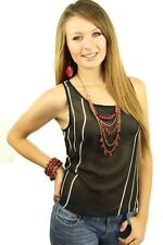 DEALZONE Fascinating Two Tone Striped Top S Small Women Black Career USA