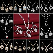 2017 18K Sapphire Pearl Crystal Necklace Earrings Set Wedding Engagement Jewelry